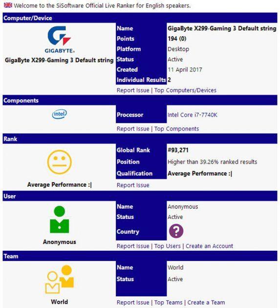 Intel Core i7-7740K замечен в Сети