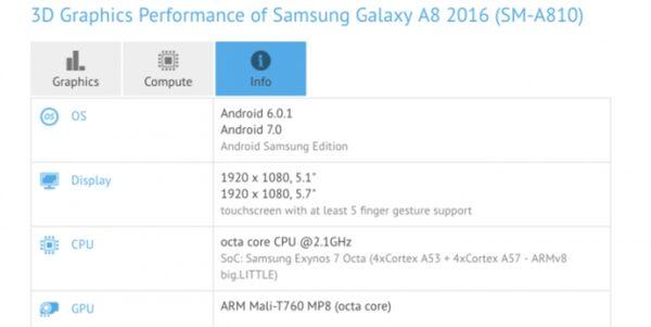 Samsung Galaxy A8 2016 с обновленным Android 7.