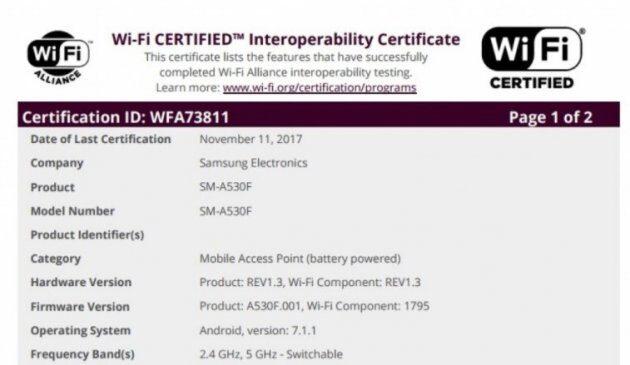 Новое поколение Samsung Galaxy A5 и Galaxy A7 получили сертификацию Wi-Fi