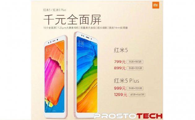 Xiaomi анонсировала Redmi 5 и Redmi 5 Plus: характеристики и цена