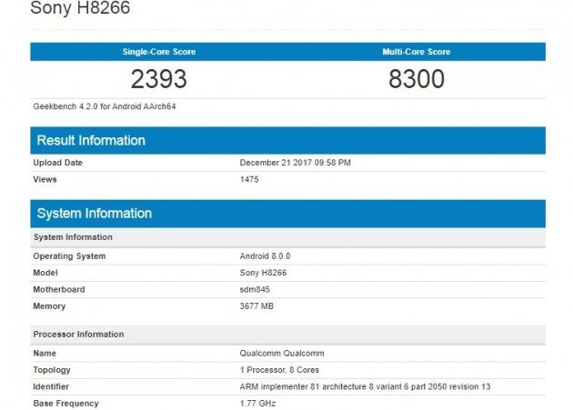 Sony Xperia на Snapdragon 845 впечатляет результатами тестов в Geekbench