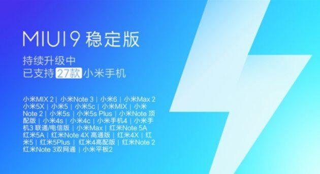 До 27 декабря обновление до MIUI9 получат 27 телефонов Xiaomi