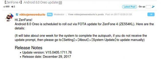 Asus ZenFone 4 и Samsung Galaxy A7 (2017) получают новое обновление