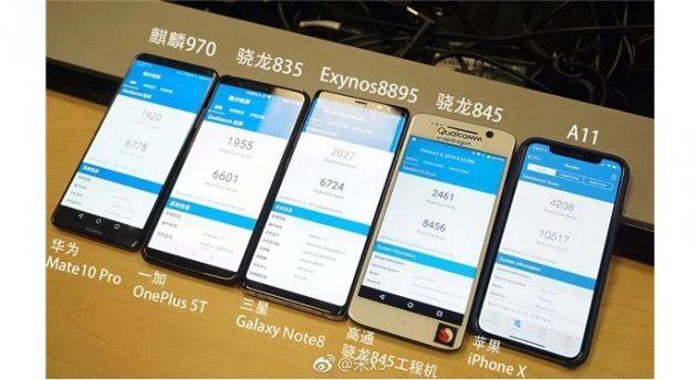 Snapdragon 845 против Snapdragon 835, Exynos 8895 и Apple A11 Bionic