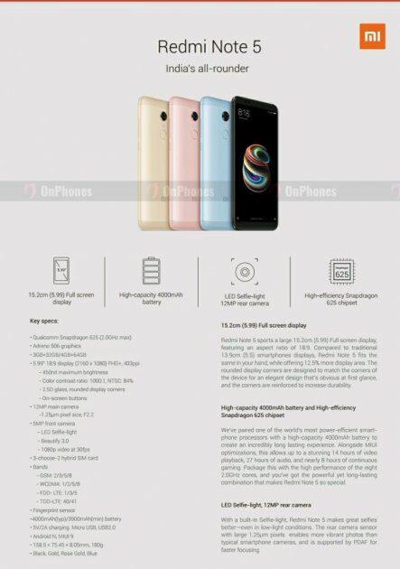 Характеристики Xiaomi Redmi Note 5 и Redmi Note 5 Pro стали известны еще до анонса