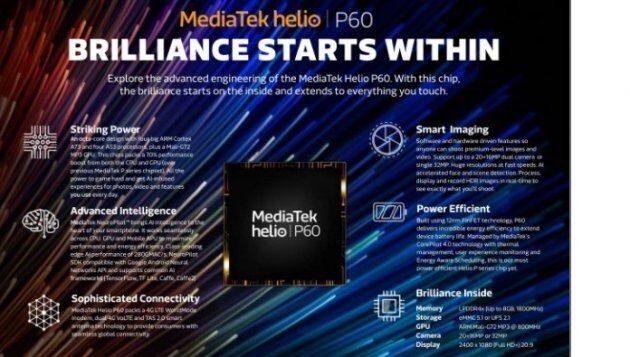 MediaTek представила чипсет Helio P60 - самый эффективный чипсет P-серии с возможностями AI