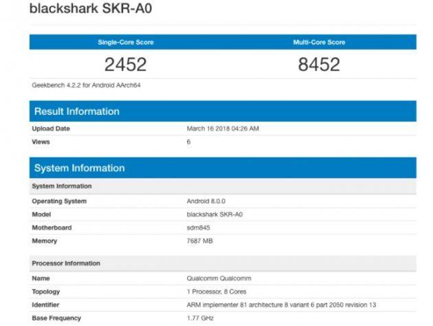 Игровой смартфон Xiaomi Blackshark SKR-A0 с SD 845 показал удивительный результат на GeekBench